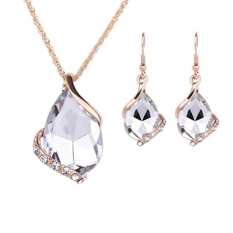 Drop Pendant Necklaces Earrings Sets Shininy Cubic Zircon bijoux Women bridal Wedding Jewelry Set Charm Crystal Water jewelry