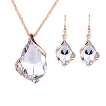 Drop Pendant Necklaces Earrings Sets Shininy Cubic Zircon bijoux Women bridal Wedding Jewelry Set Charm Crystal Water jewelry(China)