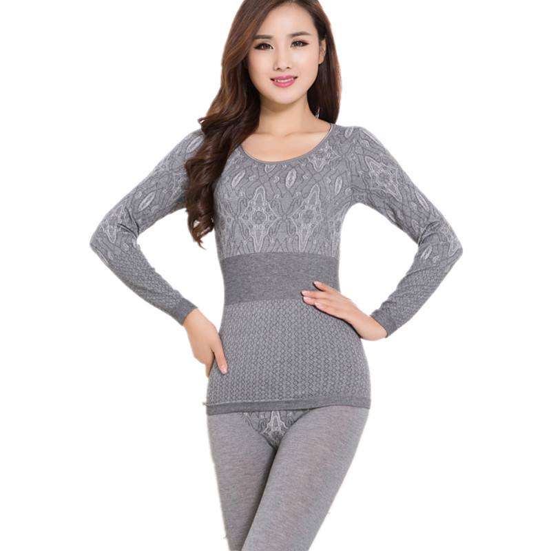 Cheap! Thin Slim Printed Ladies Thermal Underwear Set Second Female Thermal Skin O-neck Long Johns Women Warm Winter Pajamas