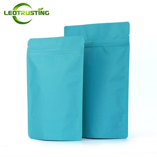 Leotrusting 50 pcs Stand up Matt Azul Folha De Alumínio Ziplock Saco de Comida Azul Pacote de Saco de Chá de Café Doypack Fidget Spinner saco de brinquedos