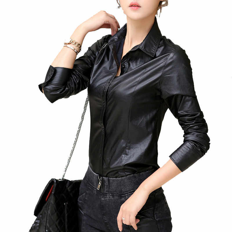 vintage spring PU Leather shirt women blouses fashion Casual  ropa mujer roupas long sleeved autumn winter black shirts DM2365
