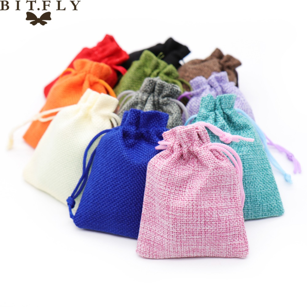 50pcs New Brand Vintage Natural Burlap Hessia Gift Candy Bags ...