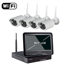 "Aokwe New arrival 4ch Outdoor Day night security camera system 720P Real WiFi wireless NVR kit with 10.1"" LCD Screen"