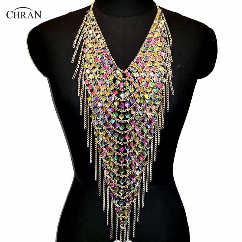 Chran Acrylic Gem Tassel Fringe Statement Necklace Chain Harness Shoulder Necklace Festival Dress Decor Ibiza EDM Jewelry CRS427 petal rhinestone chain fringe necklace