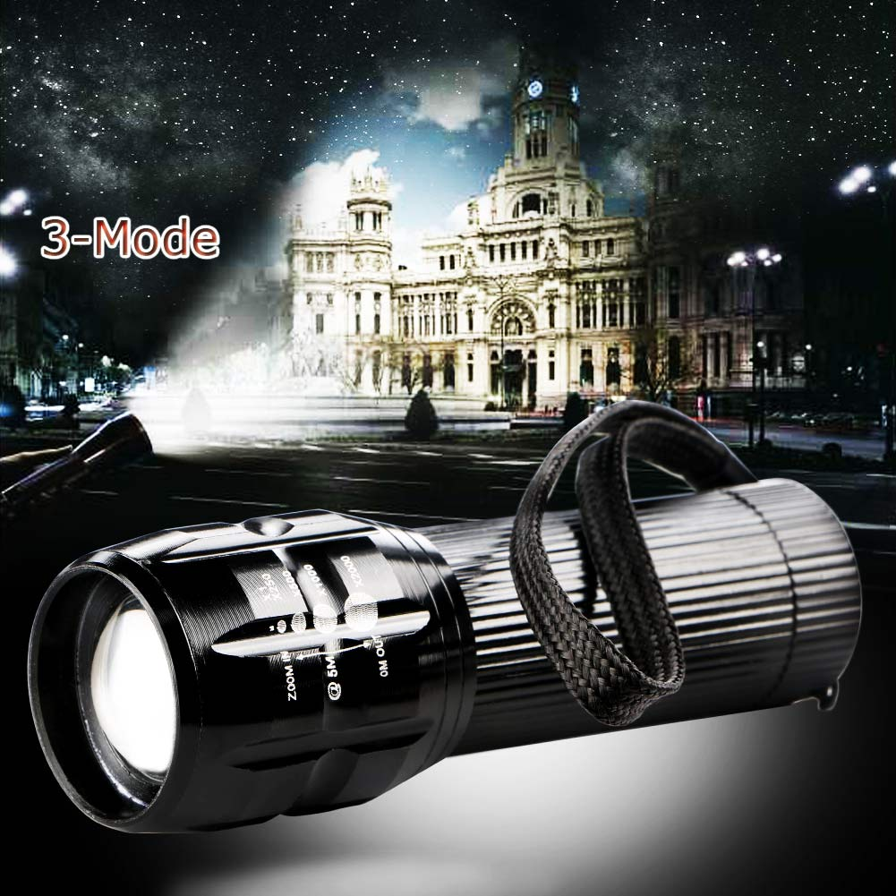 Zoomable CREE LED 3 Modes Flashlight Torch Zoom Lamp Outdoor Light 2000 Lumen