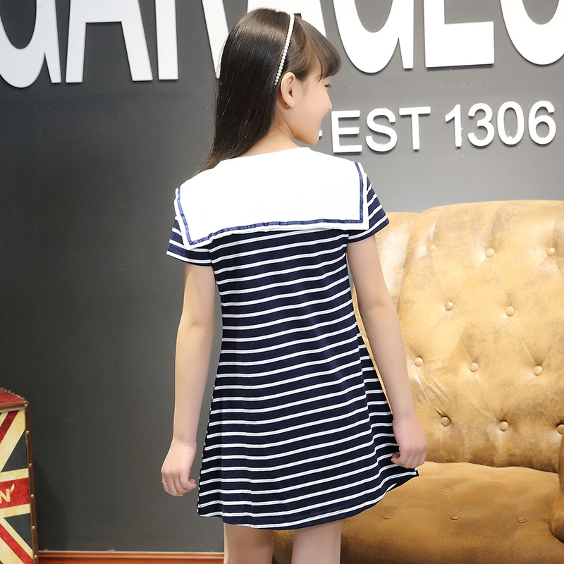 dcc3b728293162 Fashion girls cotton casual short sleeved crew neck striped t shirt girls  cute dress lovely naval style kids clothing 17J701-in Tees from Mother &  Kids on ...