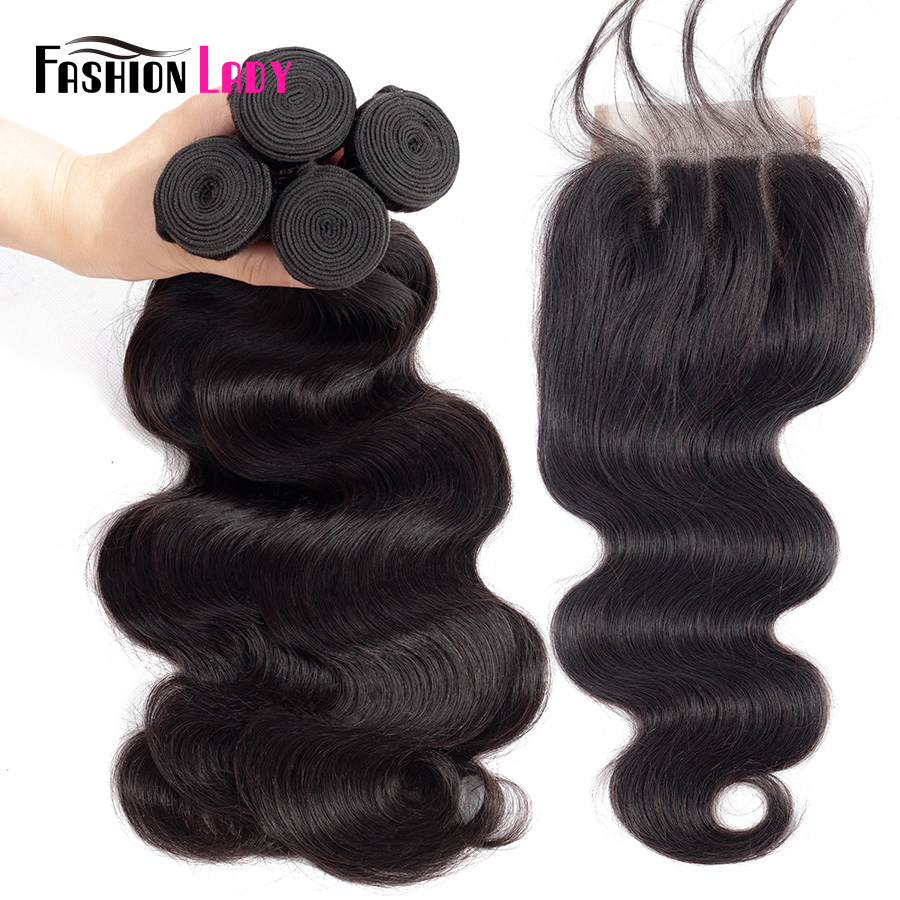 Fashion Lady Pre-colored Malaysian Bundles Hair With Closure 1b# BodyWave 3/4 Bundles With Closure Three Part Non-remy Hair