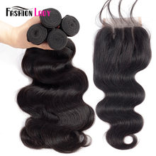 Fashion Lady Pre-colored Malaysian Bundles Hair With Closure 1b# BodyWave 4 Bundles With Closure Three Part Non-remy Hair(China)