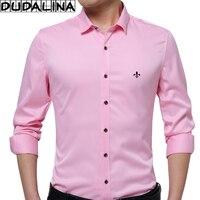 DUDALINA Embroidery Men Clothes Solid Slim Fit Men Long Sleeve Shirt Casual Men Social Shirt Plus