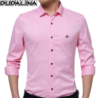 DUDALINA Embroidery Men Clothes Solid Slim Fit Men Long Sleeve Shirt Casual Men Social Shirt Plus