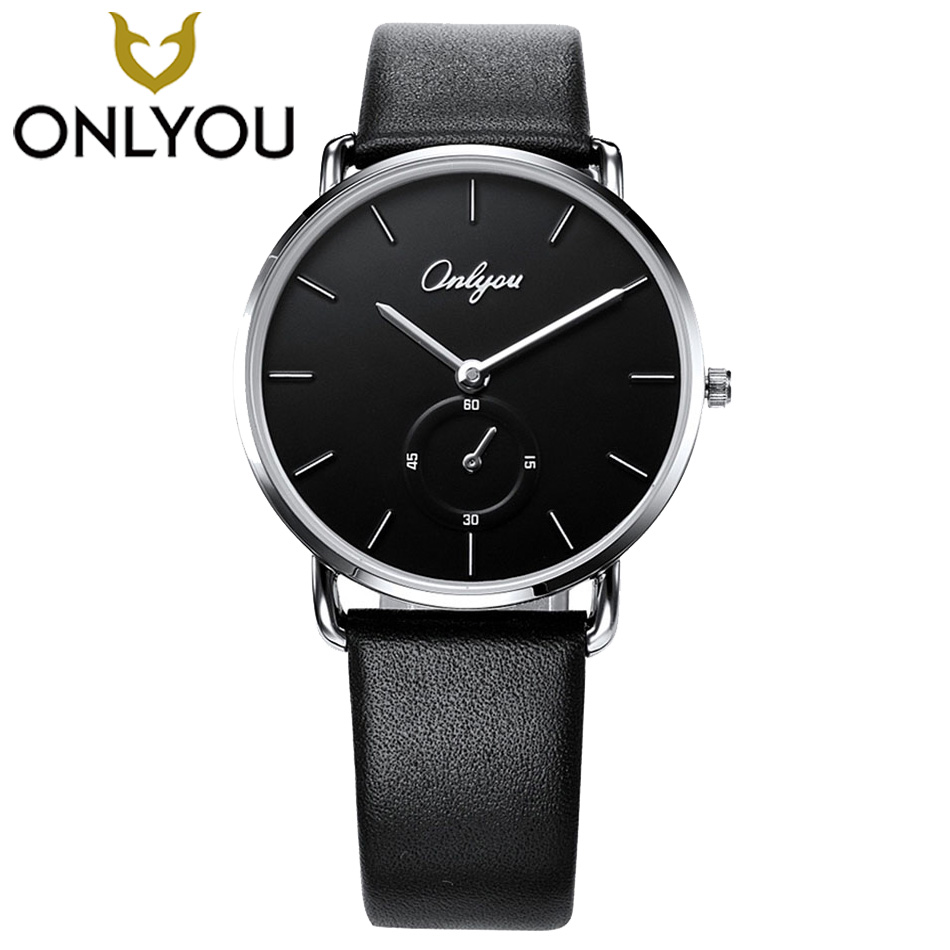 ONLYOU Black Men Watches 2017 Top Brand Luxury Quartz Waterproof Watch Genuine Leather women Fashion Casual Watches Lovers Mens onlyou women top brand fashion watch super slim quartz waterproof wristwatch females casual fabric gift watces wholesale