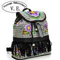 Vintage Embroidery Backpack 2017 New National Hmong Canvas Sunflower Embroidered shoulder bag Tassel Travel School Rucksack