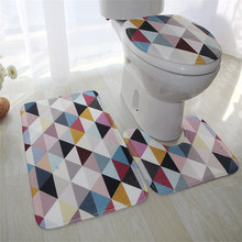 Non-slip Cushion Bathroom Carpet Mat Toilet Mats Rug Floor 3D Design Color Printing Cotton Velvet Soft
