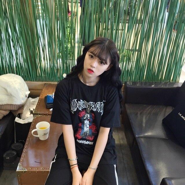 Halajuku Cartoon Style Printed Rose Loose Black Big Short Sleeve Female T-shirt 2