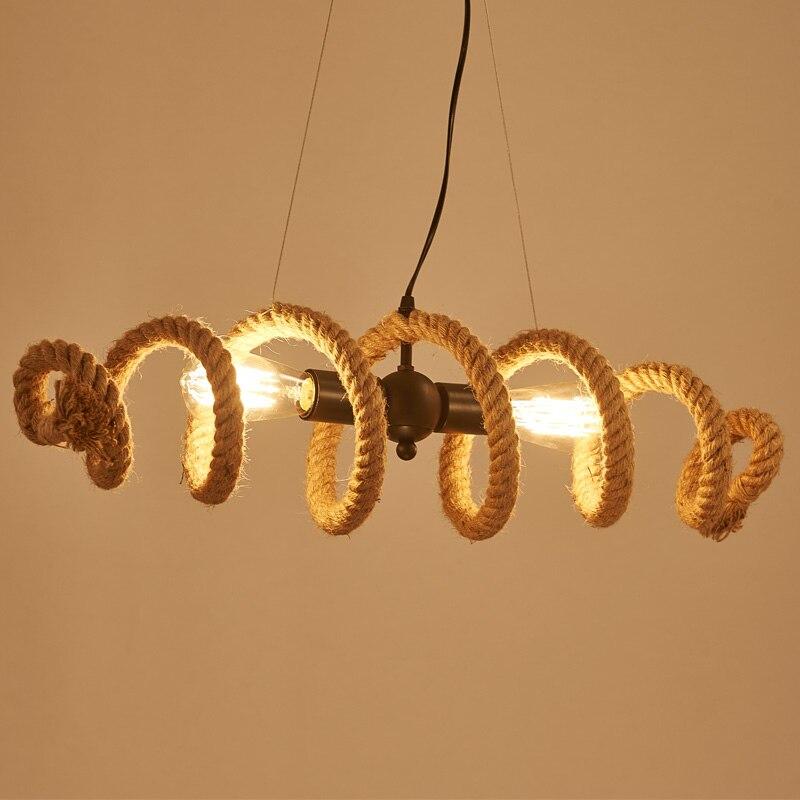 industrial Loft pipe Hemp Rope Pendant or Ceiling Lamp Retro Bar kitchen Cafe E27 Edison Bulb Light ложка для спагетти eva solo ложка для спагетти 29 см нержавеющая сталь