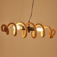 industrial Loft pipe Hemp Rope Pendant or Ceiling Lamp Retro Bar kitchen Cafe E27 Edison Bulb Light