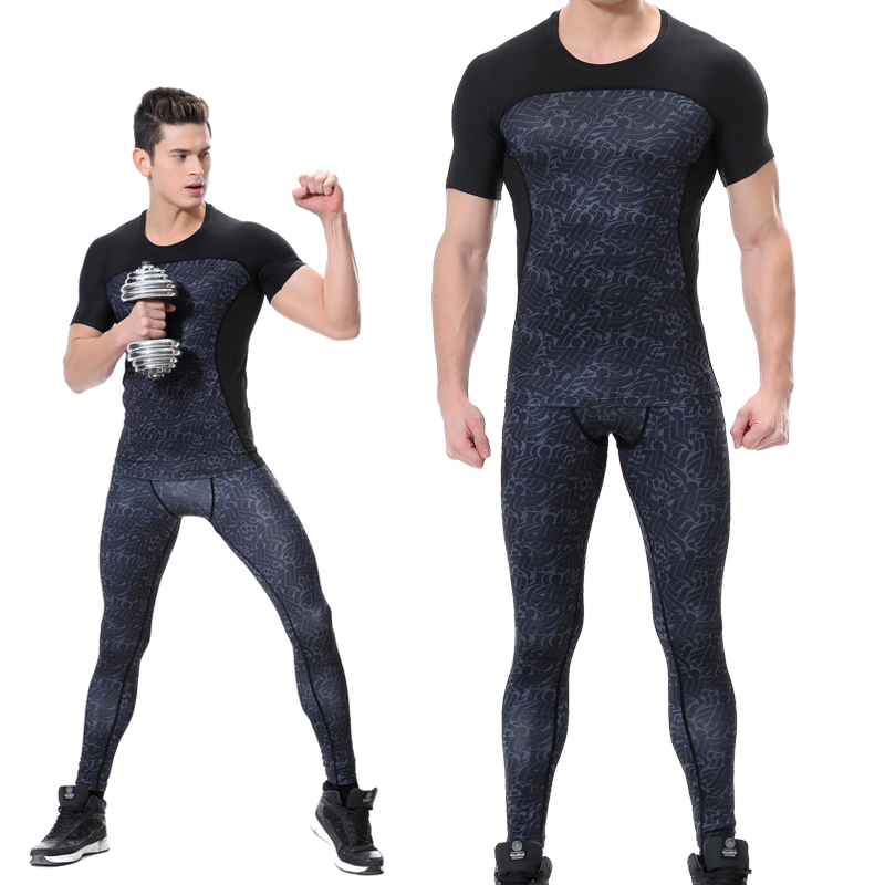 Compression Shirt Pants Set Gym Running Jersey T Shirt Sport Homme Mens Quick Dry Fitness Sport Pants Men Tight Shorts Sleeve