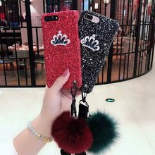 XINGDUO PC Hard shell Glitter red black case for  iphone X XS 7 8 Plus cute Hair ball personality lanyard iPhone 6 6S 6Plus