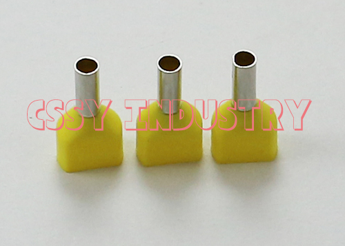 100 шт./лот TE16-14 2x16mm2 наконечник для проводов провода Медь обжимной соединитель изолированный кабель Twin контактный конец терминала