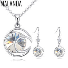 MALANDA Brand New 100% Crystal From Swarovski Fashion Round Pendant Necklace Dangle Earrings For Women Wedding Jewelry Sets Gift(China)