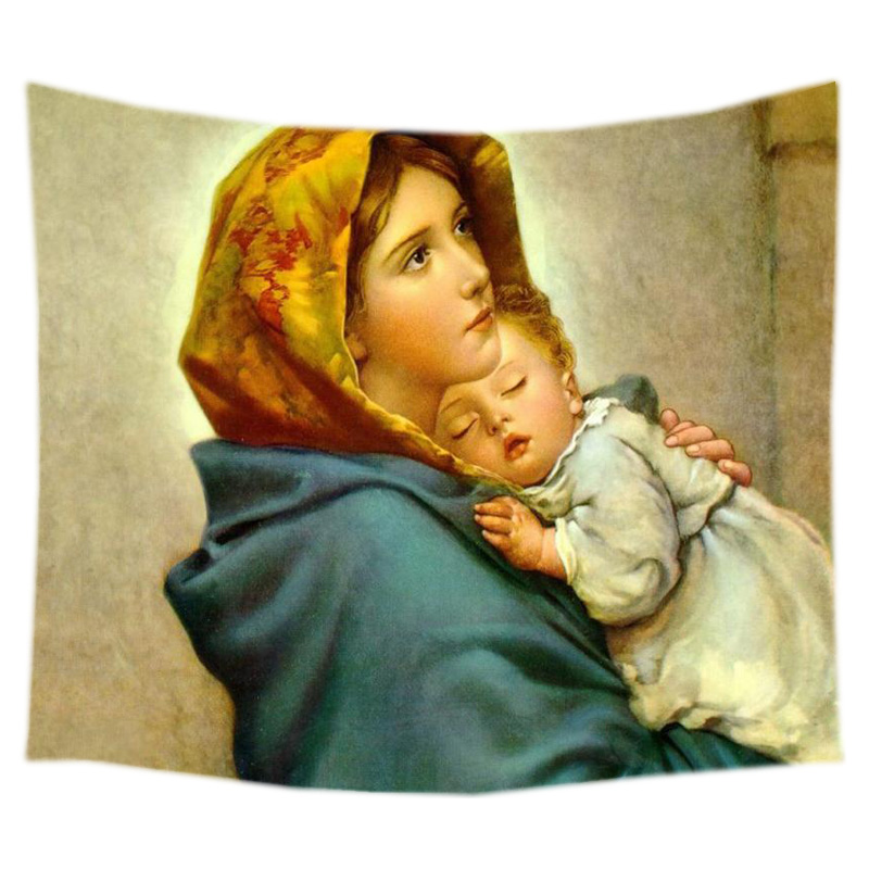 Virgin Mary Tapestry Wall Hanging Customized Bedspread Bedsheets ...