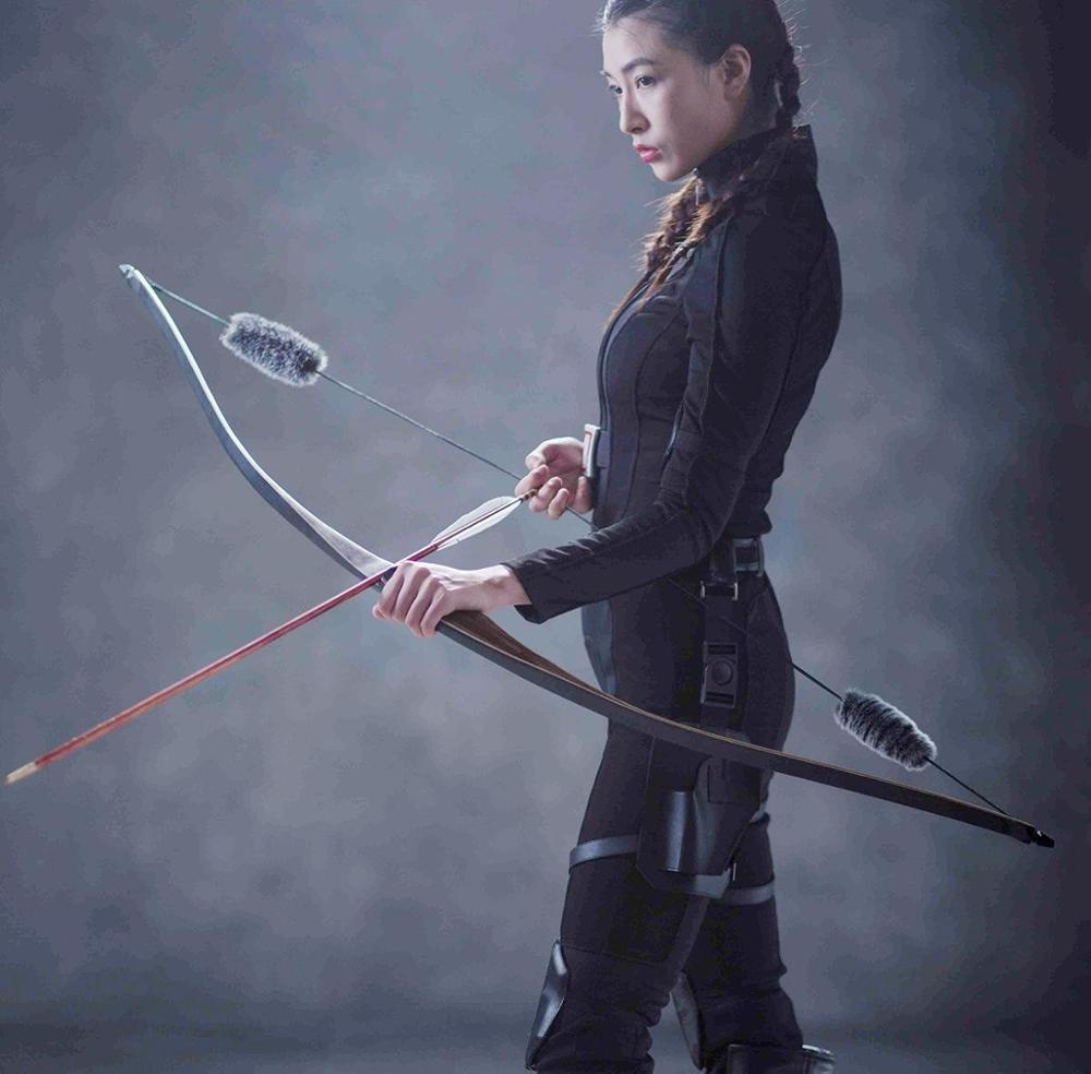 Archery Hunting Recurve Bow One Piece Traditional Wood Longbow Targeting Practice Right Hand With Otter Balls String Silencer