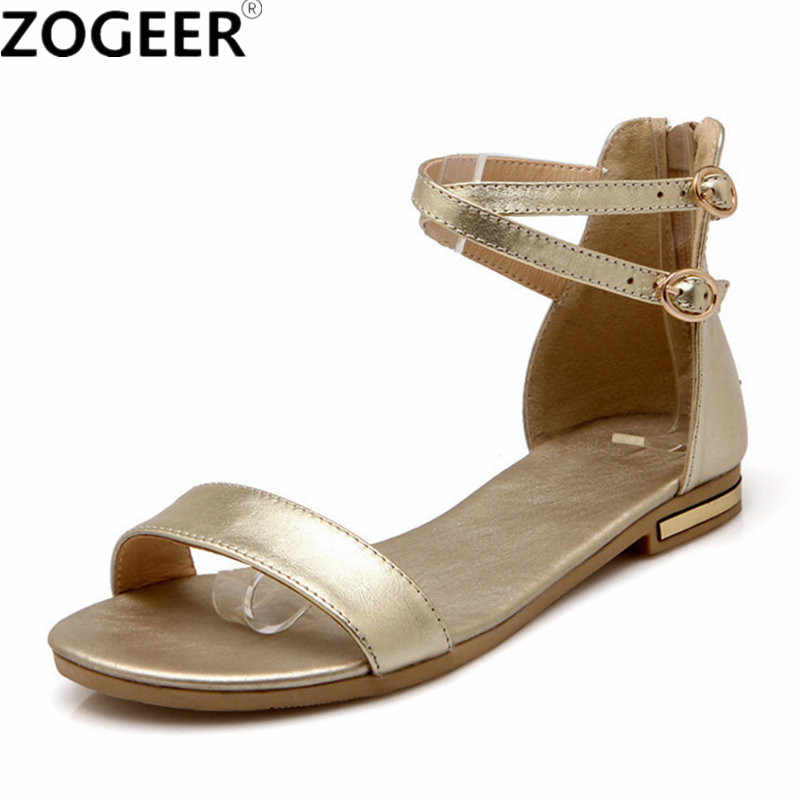 Plus size 46 2019 Summer Women Sandals Genuine Leather Flat Heel Flip Flops Gladiator Casual ankle strap Shoe Woman white gold