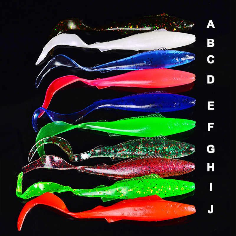 釣りソフト餌 95 ミリメートル 10 ピース/ロット餌低音 4 グラム手作り尾フォークされたプラスチックヘッドジグリグテキサスルアートップ