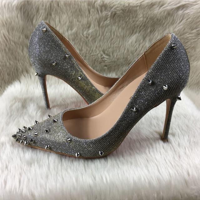 5a3e7b5506 Saltos altos das mulheres novos modelos de cor rebites sapatos rasos marca  Ms. patente exclusiva