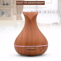 OUTAD 400ml Aroma Essential Oil Diffuser Ultrasonic Air Humidifier With Wood Grain 7 Colors Changing LED