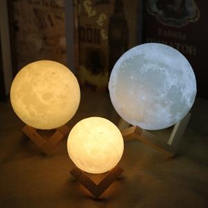 Image 2 - Lámpara de Luna 3D de luz LED nocturna de 20CM, 18CM, 15CM, luz de luna USB, Interruptor táctil cambiable de 2 colores para regalo creativo