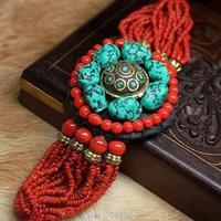 BB 153 Tibetan Jewelry 2016 Fashion Bracelet Nugget Turquoise Brass Charm Bracelet Indian Nepal Red Mini