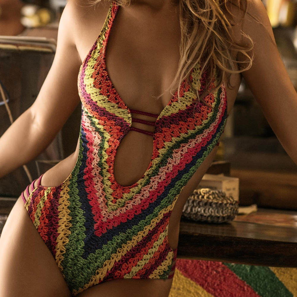 <font><b>Sexy</b></font> Bandage One Piece <font><b>Swimsuit</b></font> Floral Swimwear <font><b>Women</b></font> <font><b>2018</b></font> Backless Monokini Push Up Swim Suits High Cut Trikini Bathing Suit XL image