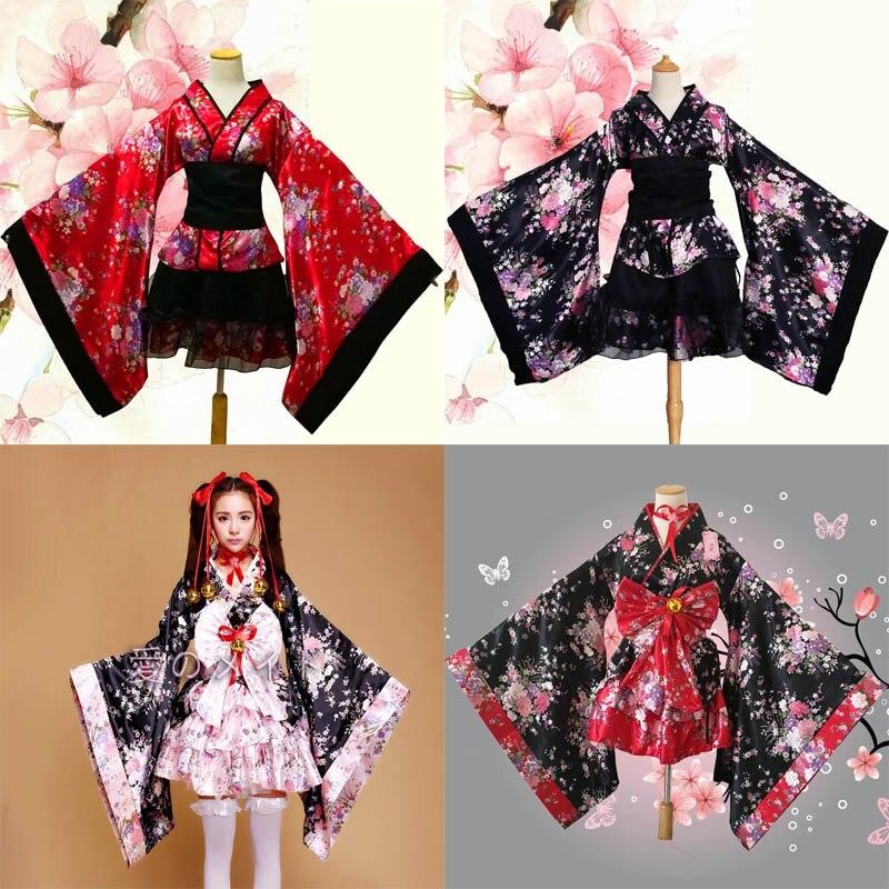 042d07a56 Mujer Coplay Hatsune futuro Lolita ropa Kimono japonés flor de cerezo  tradicional traje de mucama ...