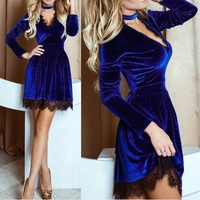 Sexy Lace Velvet Dress Long Sleeves V Neck Women Dresses Black Autumn Winter Lace Club Factory
