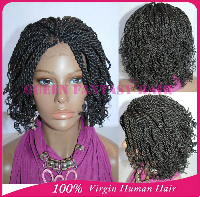 Full Hand Tied Short Kinky Twist Braided Lace Front Wigs