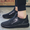 Mesh Casual Breathable Men Shoes Spring Summer Style Trend Sport Trainers Flat Shoes Walking Basket Femme Soild Black Sapatos