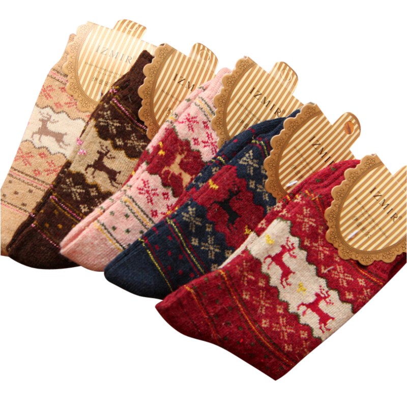 Women Winter Rabbit Wool Socks For Woman Thicken Warm Vintage Deer Pattern Thermal Cotton Socks 5pair/lot