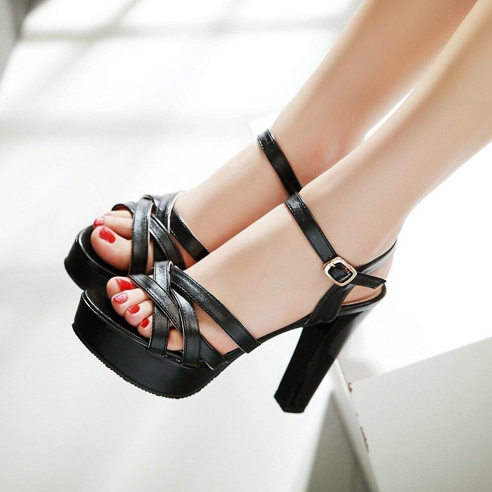 Black dress sandals for wedding - Lady Strappy Summer Square Heel Sandals Women Black White Wedding High Heels Footwear Girls Gladiator Big Size Dress Shoes 6577