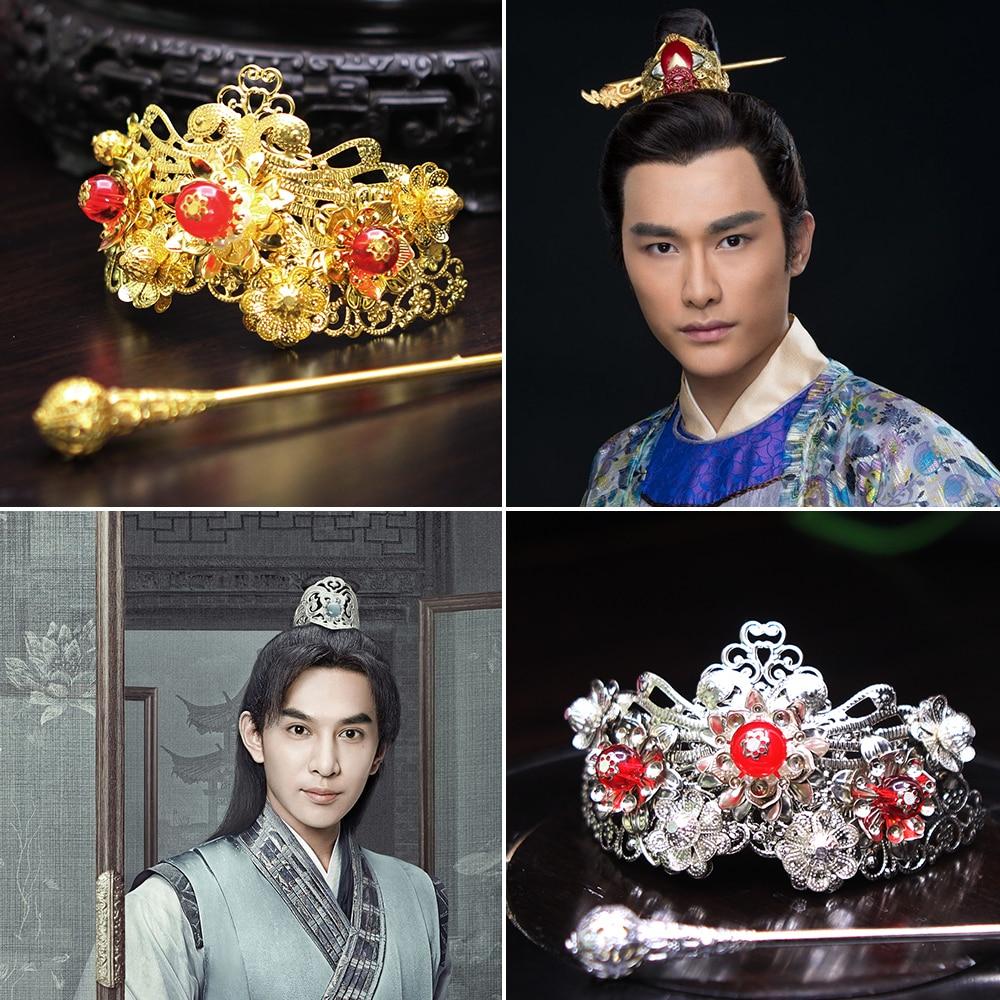 Many Designs Male Hair Tiara Prince Emperor Scholar Head Piece Tiara Hanfu Cosplay Hair Crown Piece Hair Stick