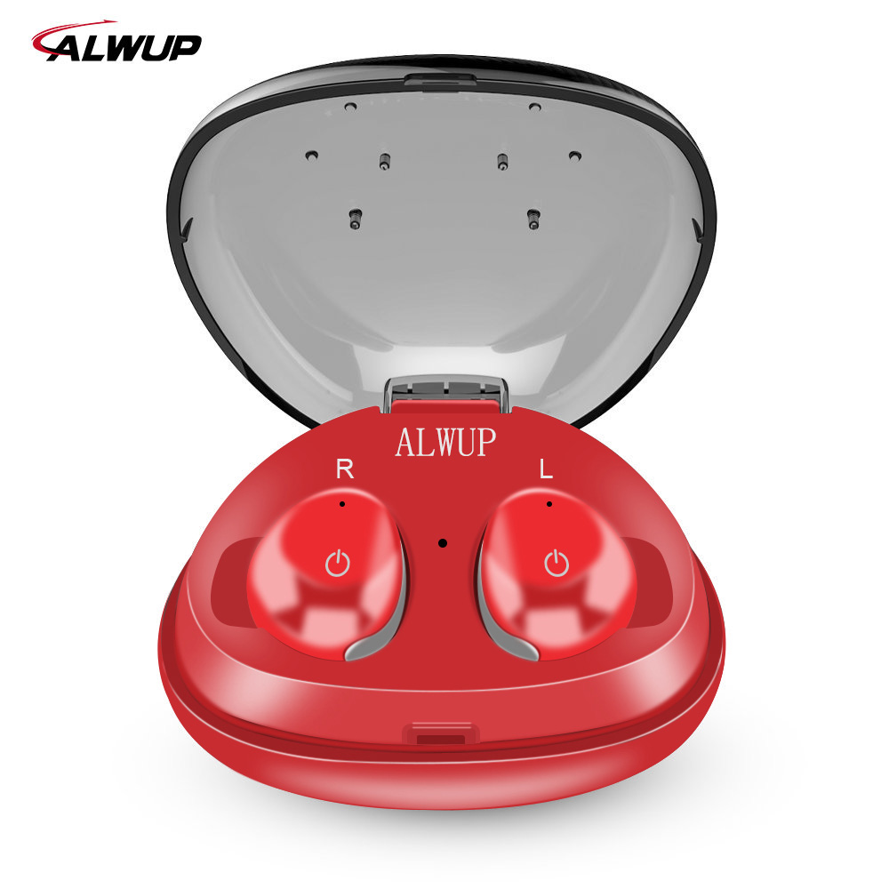 ALWUP TWS True Wireless Earbuds with Mic Mini Sport Wireless Bluetooth Earphone  for iPhone Bluetooth 4.2  with Charging Case new dacom carkit mini bluetooth headset wireless earphone mic with usb car charger for iphone airpods android huawei smartphone