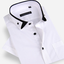 Summer 2017 Men's Unique Double collar Short Sleeve Dress Shirts White Solid Slim fit Comfort Soft 100% Cotton Casual Shirts