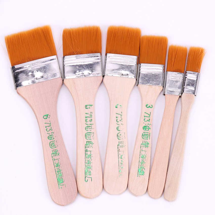 6 スタイルオイル水彩絵画ブラシナイロンヘア塗装アートブラシきれいに簡単に木製クリーニングブラシ画材