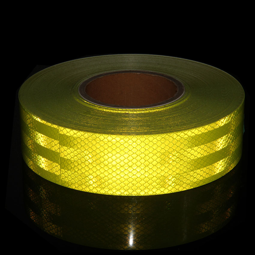 5CMX300CM Self-adhesive Fluorescent Strip Prismatic Reflective Tape Fluorescent Yellow Reflective Vinyl Tape For Motocycle