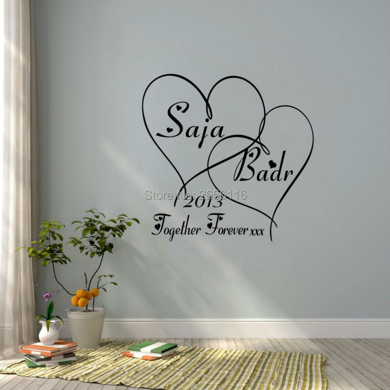ᗛcustomer made couple lover wall decals personalized name and year
