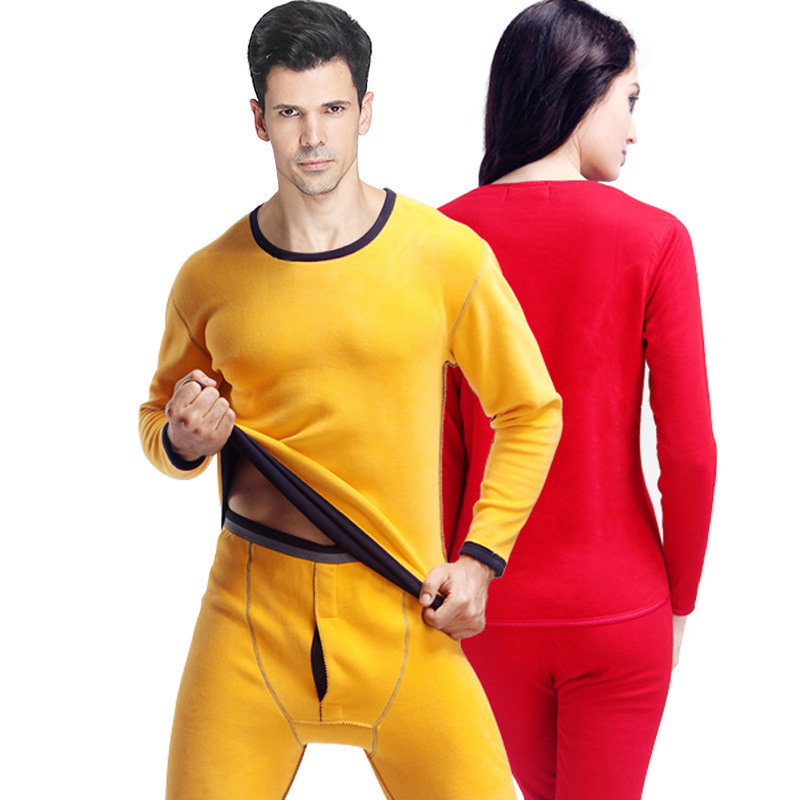 Men Winter Long Johns Thermal Underwear Set For Women Thick Warm Velvet Womens Winter Clothes Couple Pant And Top Thermal Suit