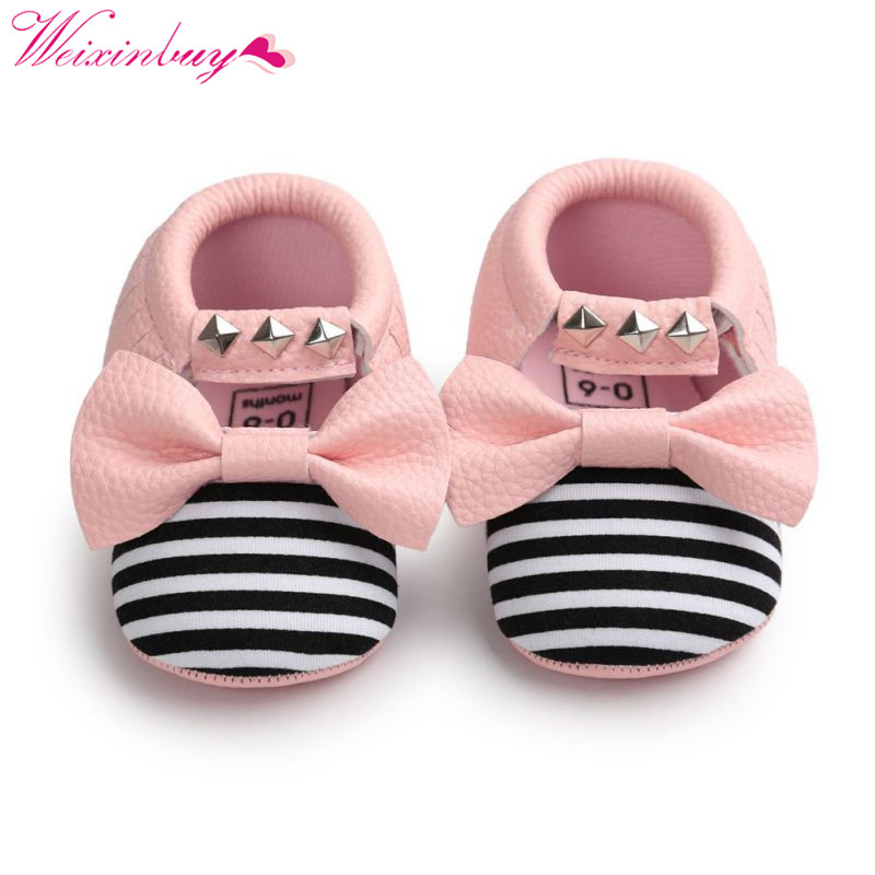 0-18M Baby Tassel PU Leather Soft Sole Shoes Infant Girl Toddler Crib Moccasin