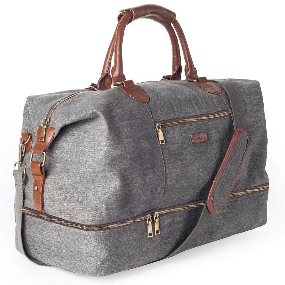 Mealivos Canvas Travel Tote Luggage Men's Weekender Duffle Bag With Shoe Compartment