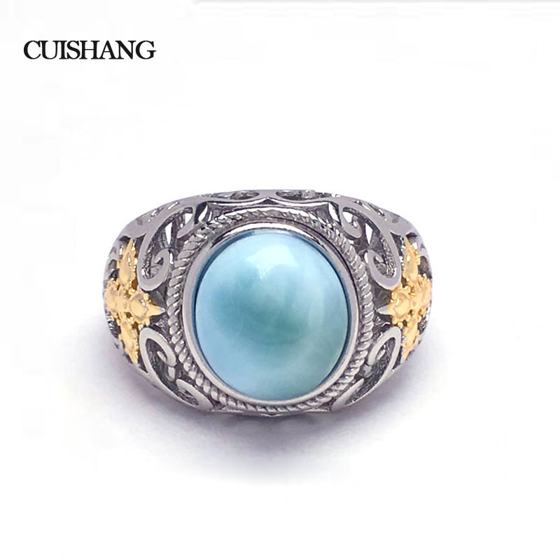 CSJ Natural larimar Ring Sterling 925 Silver new fashion and trendy style fine jewelry for Women and Man Wedding Engagement GiftCSJ Natural larimar Ring Sterling 925 Silver new fashion and trendy style fine jewelry for Women and Man Wedding Engagement Gift