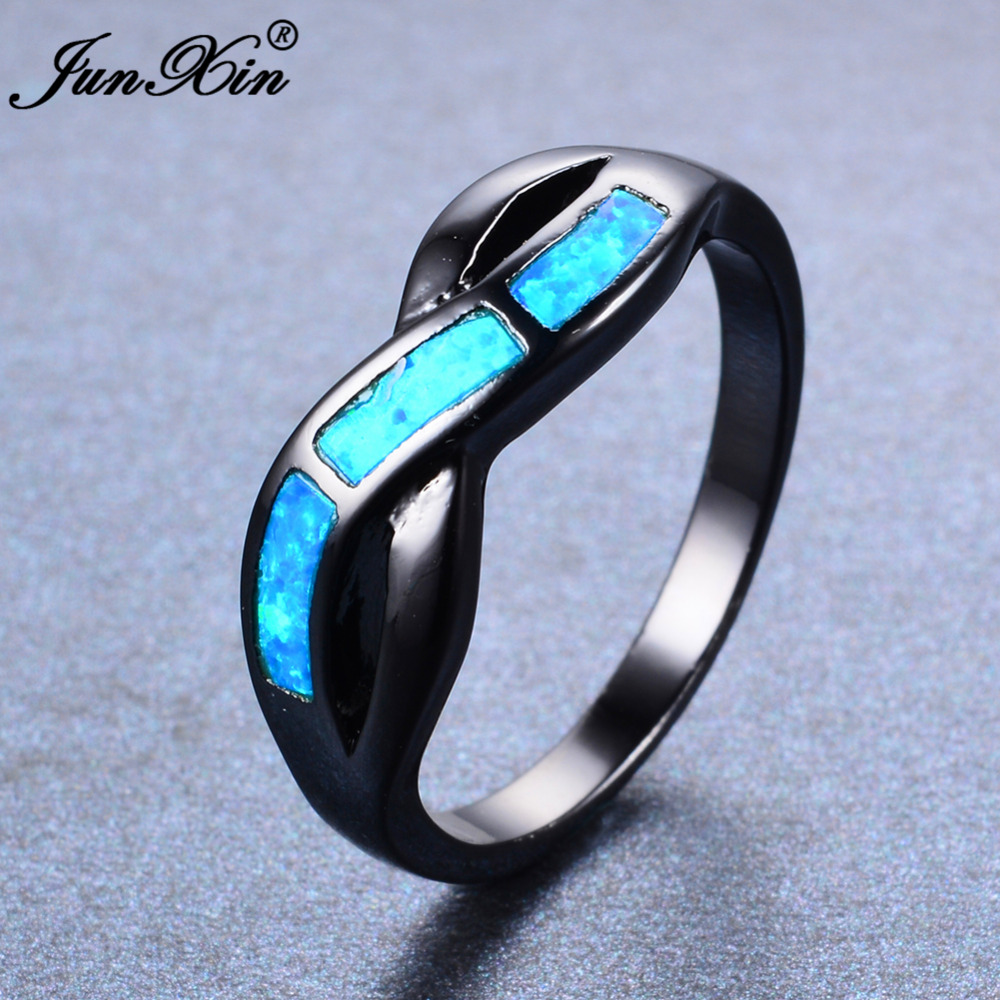 Junxin blue fire opal ring male female infinity ring black for Wedding rings for male and female